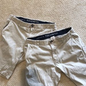 Two pairs Paper Denim & Cloth khaki shorts